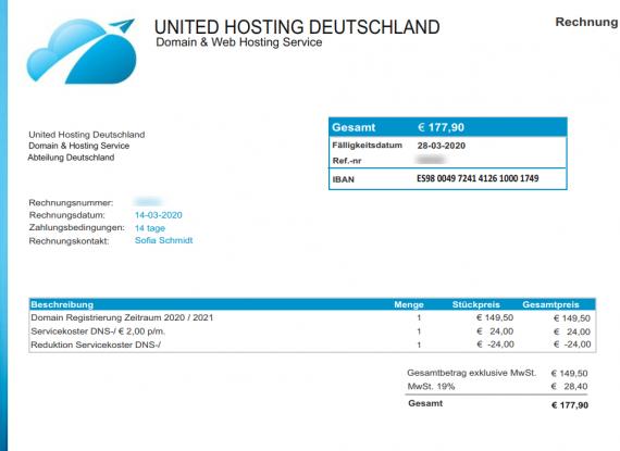 Achtung – Fake Rechnungen von United Hosting Deutschland unterwegs – NICHT ZAHLEN!