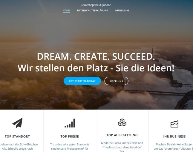 Kundenprojekt Neue Webseite Gewerbepark St. Johann